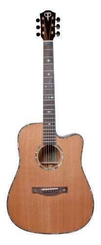 Teton Dreadnaught Cutaway Acoustic Electric Solid Cedar Top, Solid Mahogany Back and Sides - Electric Guitar Acoustic Cutaway Dreadnaught