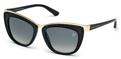 Swarovski Women's Diva Wayfarer Sunglasses,Shiny Black,53 ()
