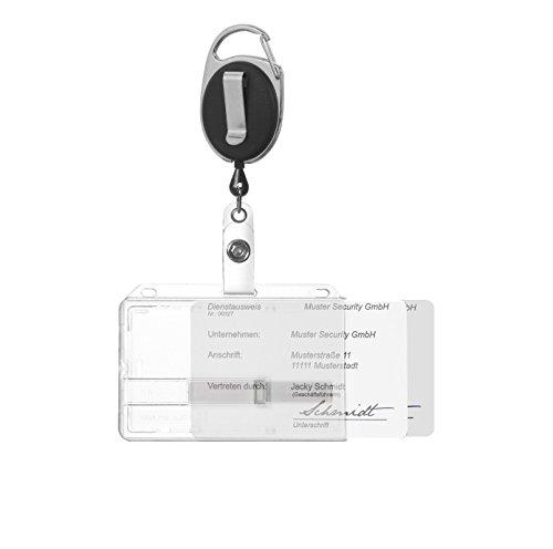 Ausweishülle Ausweishalter Kartenhalter für bis zu 2 Karten aus Hartplastik mit zwei transparenten Schiebern und Ausweisjojo schwarz mit Karabiner- und Ansteckerclip