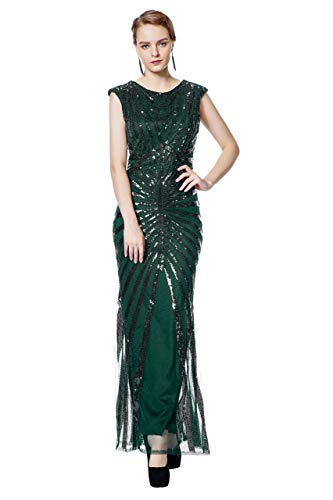 (Metme Formal Evening Dress 1920s Sequin Mermaid Formal Long Flapper Gown Party Green)