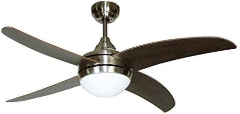 Ventilador de techo mod. OSIRIS con luz y mando a distancia, 117 cm. acabado Niquel con 4 palas Wengue-Cerezo, AkunaDecor.