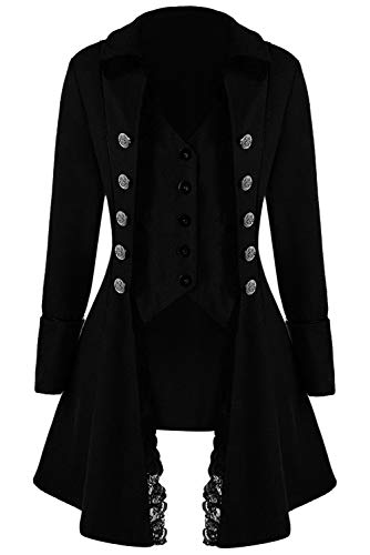 eval Retro Gothic Tailcoat Steampunk Jacket Double Breasted Tuxedo Coat Victorian Costume (Small, Black) ()