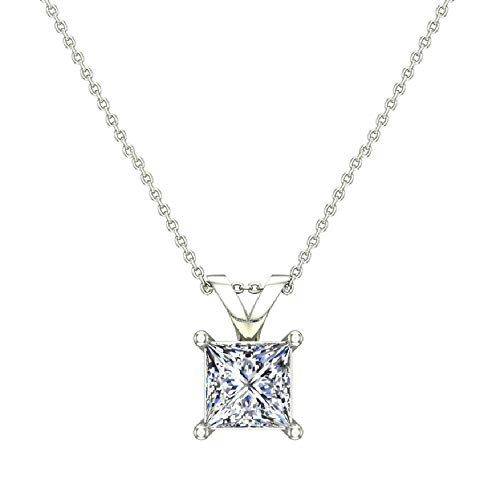 3/8 ct tw I I1 Natural Princess Cut Diamond Solitaire Pendant Necklace 14K White -