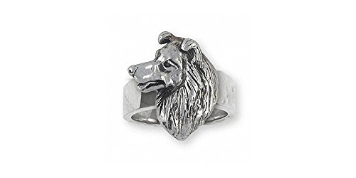 Border Collie Jewelry Sterling Silver Border Collie Ring Handmade Dog Jewelry BDC6-R