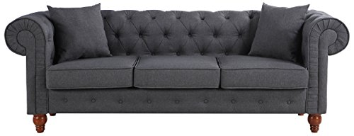 Classic Fabric Scroll Tufted Chesterfield