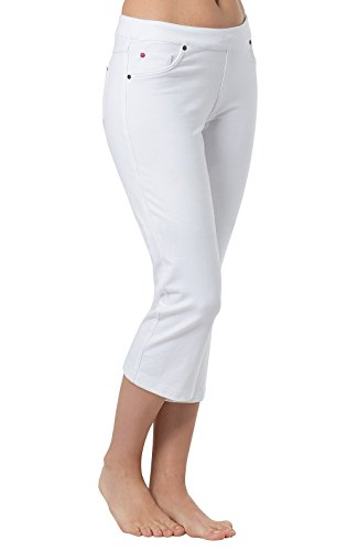 PajamaJeans Women's Stretch Knit Denim Capris, White, 2X / 20-22W ()