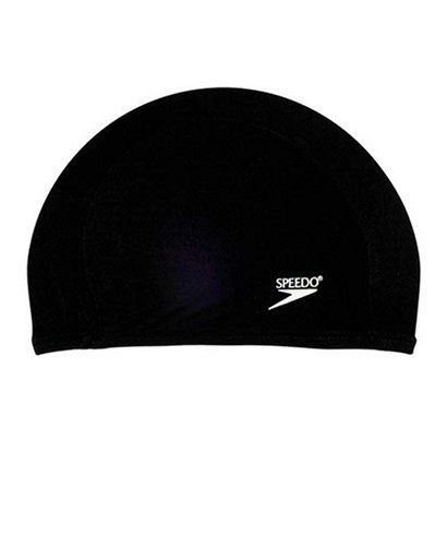 Speedo Lycra Solid Swim Cap, Black, One - Nylon Swim Caps