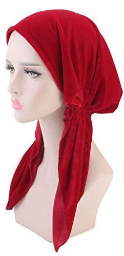 Ababalaya Women's Soft Luxury Velvet Pre-Tied Chemo Beanie Bandana Muslim Turban Tichel,Red+Purple by Ababalaya (Image #4)