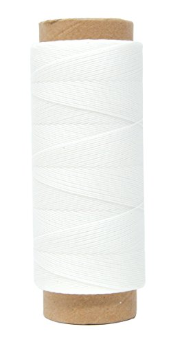 Mandala Crafts 0.45mm Leather Sewing Hand Stitching Jewelry Craft Round Waxed Thread String Cord (0.45mm, White) (Blue Industry Textile Jacket)