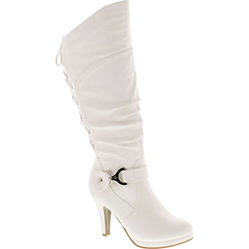 TOP Moda PAGE-65 Women's Knee High Round Toe Lace-up Slouched High Heel Boots, White Size 9