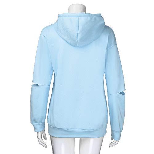 T Shirt Longues Longues Pull Tops Chemise Longues Manches imprim Manches Sweat Femme Manches Chic Bleu Shirt 4Baqx8
