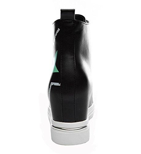 Scarpa Da Passeggio Alta In Pelle Da Donna Alla Moda Sneaker Alla Caviglia (nero / Bianco) Bianca Dunhu