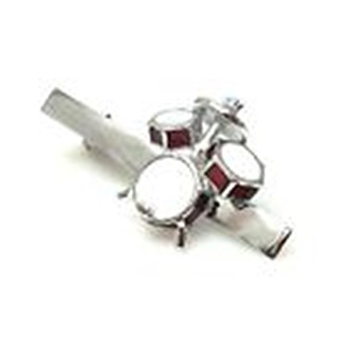Mondaily - Drum Set Drummer Gift Band Rock N Roll Music Tie Clip Silver Wedding Bar Clasp #PPTE5041