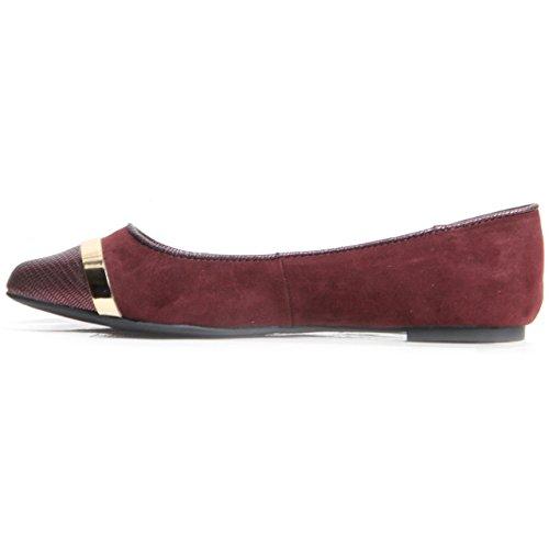 mujer pie dedo pisos rojo para dorada de del ballet color el banda en resbalón sintética F piel F damas de wECznfq