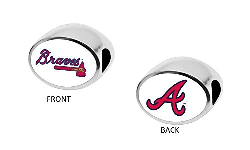 Atlanta Braves 2-Sided Bead Fits Most Bracelet Lines Including Pandora, Chamilia, Troll, Biagi, Zable, Kera, Personality, Reflections, Silverado and More Charm Bead Fits Pandora Style Bracelets