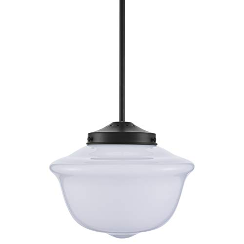Lavagna Vintage Pendant Light Fixture | Black Milk Glass Pendant Lighting for Kitchen Island LL-P272-MILK-BLK ()