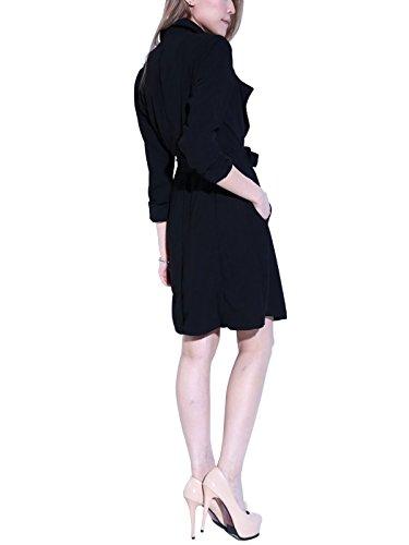 Nero Maniche S Cappotto Donna lunghe Impermeabile Curve YxwvwqB7