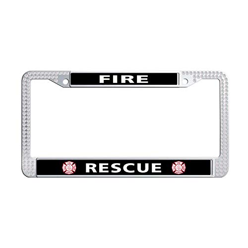 Toanovelty Fire EMT Rescue Firefighter Maltese Cross Bling rhinestonesCar License Plate Holder, Waterproof Car Plate Frame with Crystal Screw Caps, Rhinestones License Plate Frame 6' x 12' in(White) ()