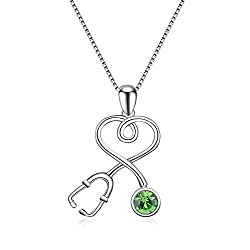 Sterling Silver Stethoscope Series Birthstone Necklace