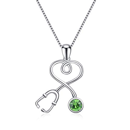 AOBOCO Sterling Silver Stethoscope Necklace Infinity Heart Pendant Birthstone Nurse Necklace with Swarovski Crystal,Fine Jewelry Gift for Doctor Nurse Medical Student