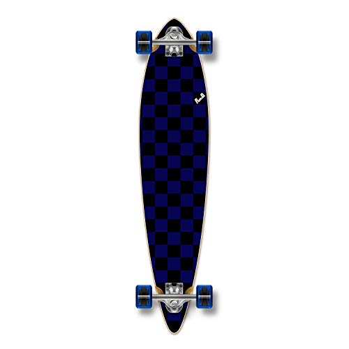 Yocaher Blank/Checker Complete Pintail Skateboards Longboard Cruiser w/Black Widow Premium 80A Grip Tape Aluminum Truck ABEC7 Bearing 70mm Skateboard Wheels (Complete - Pintail - 08 - Checker ()