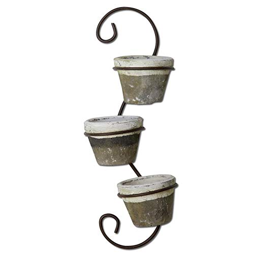 TAG Plant Pot Terracotta Metal Triple Tendril Rustic Hanging Wall Planter