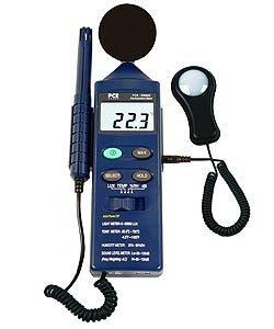 PCE Instruments Umweltmessgerät PCE-EM 882 inkl. Schallsensor, Lichtsensor, Temperaturfühler und Feuchtemesser
