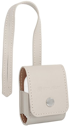 StilGut AirPods Case, Genuine Leather Cover for Apple Earphones with Leather Strap, Creme Nappa