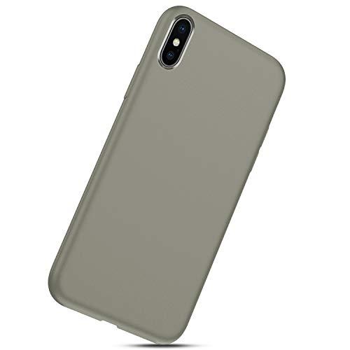 coque Souple Bumper Tpu Iphone Case Liquide Silicone Coque X Herbests Housse jaune Gel Anti Xs Fine Cover Mince Choc Gris wPf7Stnq