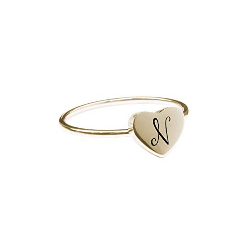 Pink Box Accessories N Comfort Fit Initial Heart Ring