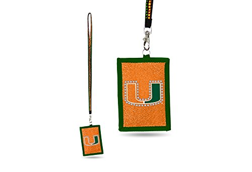 - Rico NCAA Miami Hurricanes Beaded Gem Lanyard with ID Wallet