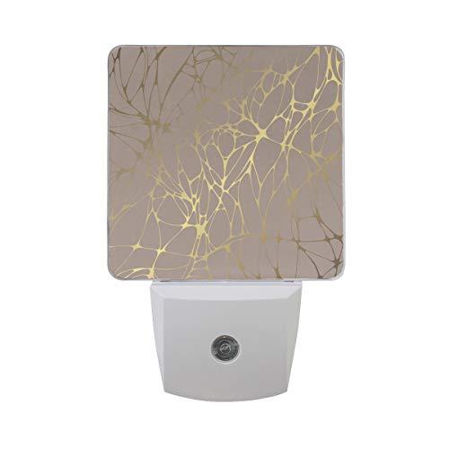 Naanle Set of 2 Elegant Beige Gold Marble Decorative Pattern Auto Sensor LED Dusk to Dawn Night Light Plug in Indoor for -