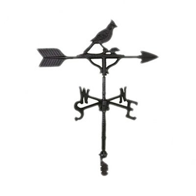 Cardinal Weathervane (Montague Metal Products 32-Inch Weathervane with Satin Black Cardinal Ornament)
