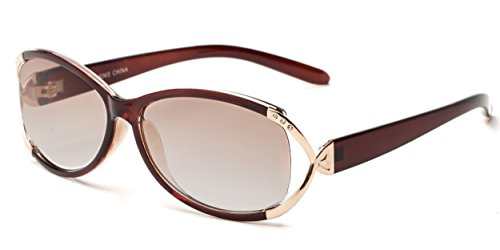 Readers.com Fully Magnified Reading Sunglasses: The Claire, Oval Women's Sunglass Reader with Metal and Rhinestone Accents - Brown/Gold with Amber, 2.25