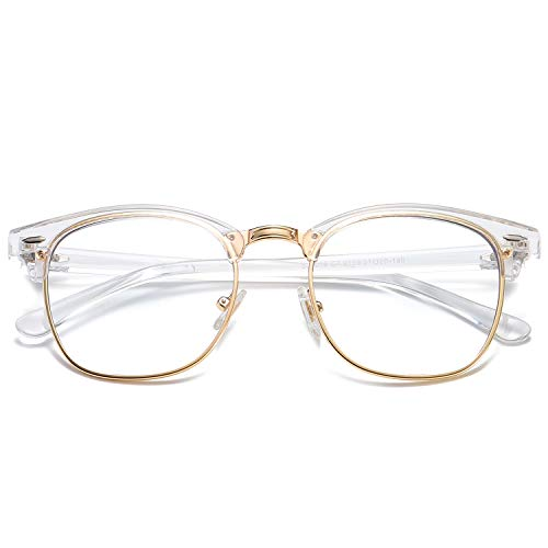SOJOS Semi Rimless Blue Light Blocking Glasses Half Horn Rimmed Eyeglasses SJ5018 with Transparent Frame/Gold Rim/Anti-Blue Light Lens