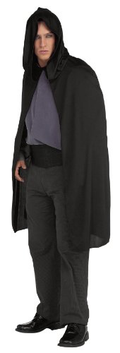 Black Adult Costumes Cape (Rubie's Costume Hooded Cape 3/4 Length Costume, Black, One Size)