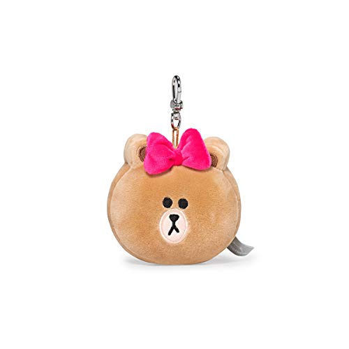 LINE FRIENDS Plush Keychain Ring - CHOCO Character Face Cute Soft Bag Charm Key Holder, 4 inch, Beige