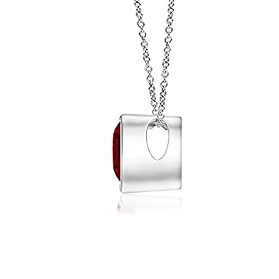 Bezel-Set Solitaire Heart Garnet Pendant 4mm Garnet