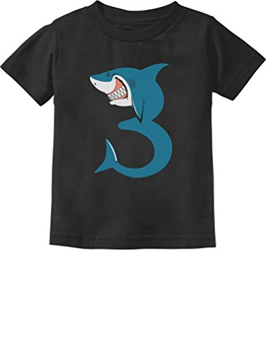 TeeStars - 3rd Birthday Shark Party Gift for 3 Year Old Toddler Kids T-Shirt 4T Black