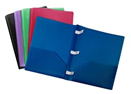 Storex Thicker Poly Two-Pocket Folder with Plastic Prongs, Assorted Colors, Case of 14 (STX50318B14C)