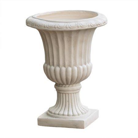 Noble House Lucca Antique White Italian 26-inch Quartz Stone Urn Planter