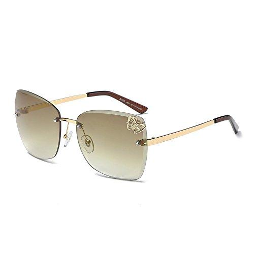 DONNA Trendy Oversized Frameless Sunglasses Cat Eye Gradient Clear Lens Glass - Glasses Cat Reading Eye Oversized