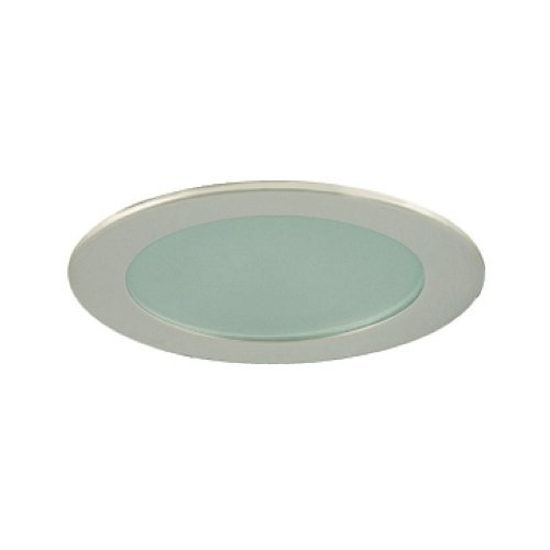 Jesco Lighting TM409ST 4-Inch Aperture Low Voltage Trim Recessed Light, Flat Frosted Glass For Shower, Satin Chrome Finish by Jesco Lighting Group