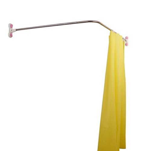 BAOYOUNI Curved Shower Curtain Rod Suction Cups L-Shaped Corner Bath Curtain Rail Bar Metal Expandable Pole 40.15'' x (46.46''-70.87'')