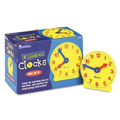 LRNLER2202 - Learning Resources Set of Six Four-Inch Geared Learning Clocks by Learning Resources