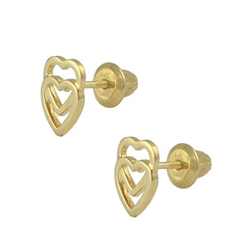 14K Yellow Gold Double Open Hearts Screw Back Stud Earrings For ()