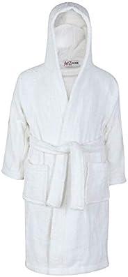 Kids Girls Boys 100% Cotton Soft Terry Hooded Bathrobe Luxury Dressing Gown 5-13
