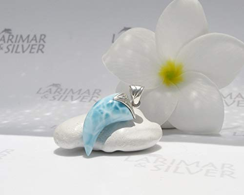 Larimar men pendant by Larimarandsilver - sea storm blue Larimar fang, tusk pendant, turtleback, Larimar jewelry, men gift- AZ457