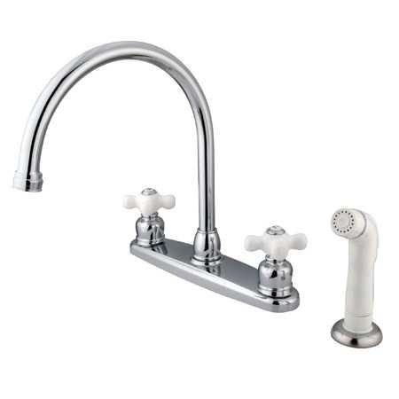 Kingston Brass KB721PX Vintage Gooseneck Kitchen Faucet with ...