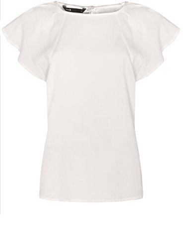 oodji Ultra Mujer Blusa con Mangas Murciélago de Viscosa Blanco (1200N)
